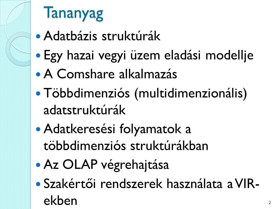Tananyag Adatbázis struktúrák Egy hazai vegyi üzem eladási modellje A Comshare alkalmazás Többdimenziós (multidimenzionális) adatstruktúrák Adatkeresési folyamatok a többdimenziós struktúrákban Az OLAP végrehajtása Szakértői rendszerek használata a VIR- ekben 2