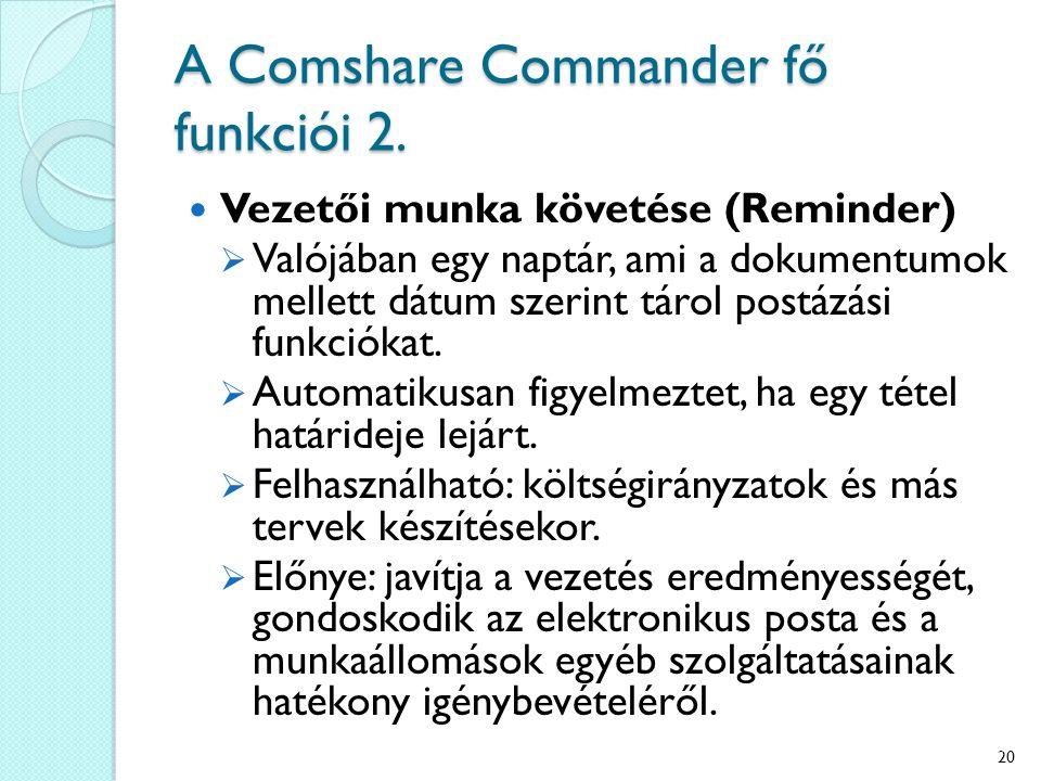 A Comshare Commander fő funkciói 2. Vezetői munka követése (Reminder)  Valójában egy naptár, ami a dokumentumok mellett dátum szerint tárol postázási