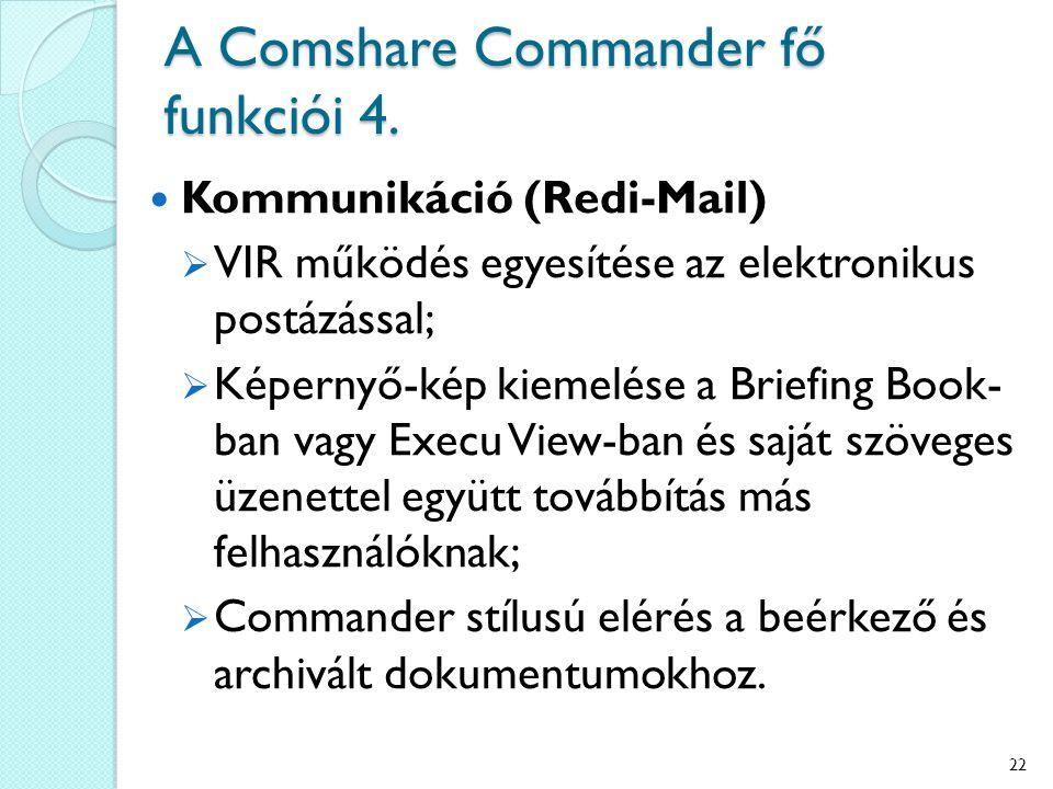 A Comshare Commander fő funkciói 4. Kommunikáció (Redi-Mail)  VIR működés egyesítése az elektronikus postázással;  Képernyő-kép kiemelése a Briefing