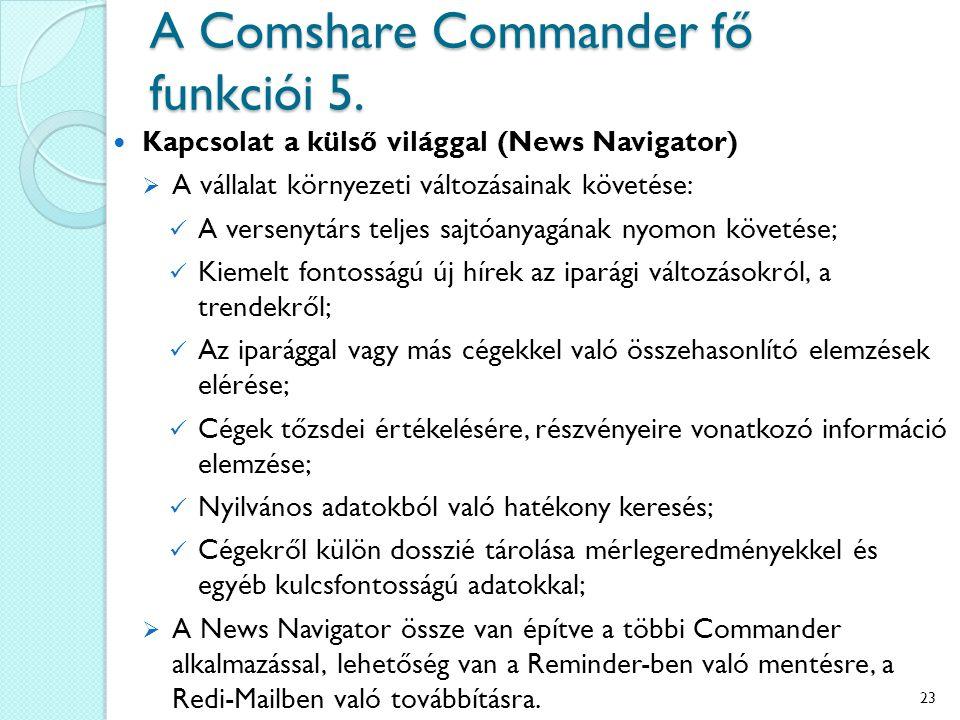 A Comshare Commander fő funkciói 5. Kapcsolat a külső világgal (News Navigator)  A vállalat környezeti változásainak követése: A versenytárs teljes s