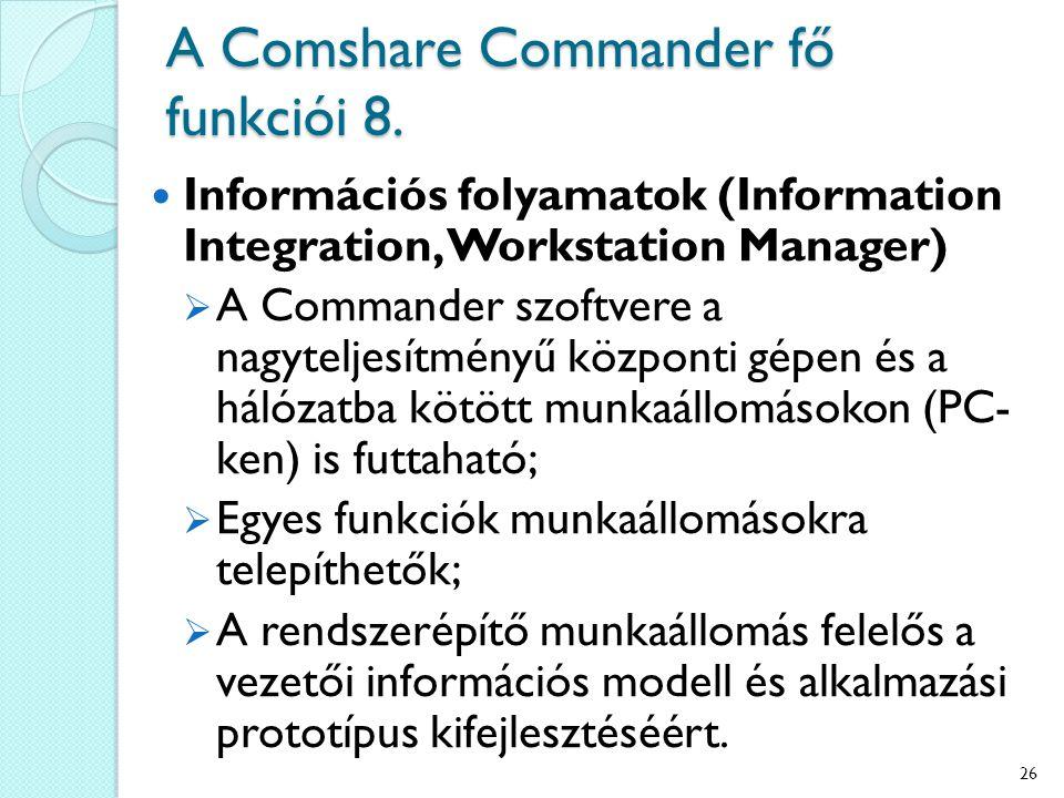 A Comshare Commander fő funkciói 8. Információs folyamatok (Information Integration, Workstation Manager)  A Commander szoftvere a nagyteljesítményű