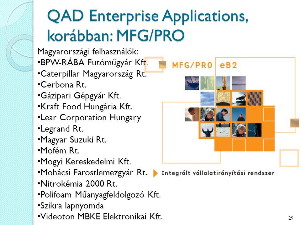 QAD Enterprise Applications, korábban: MFG/PRO Magyarországi felhasználók: BPW-RÁBA Futóműgyár Kft. Caterpillar Magyarország Rt. Cerbona Rt. Gázipari