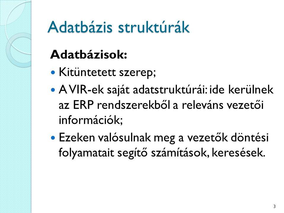 Adatbázis struktúrák Adatbázisok: Kitüntetett szerep; A VIR-ek saját adatstruktúrái: ide kerülnek az ERP rendszerekből a releváns vezetői információk; Ezeken valósulnak meg a vezetők döntési folyamatait segítő számítások, keresések.