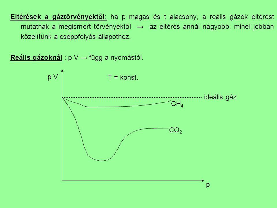 Eltérések a gáztörvényektől: ha p magas és t alacsony, a reális gázok eltérést mutatnak a megismert törvényektől → az eltérés annál nagyobb, minél jobban közelítünk a cseppfolyós állapothoz.