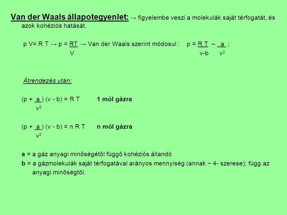 Van der Waals állapotegyenlet: → figyelembe veszi a molekulák saját térfogatát, és azok kohéziós hatását.