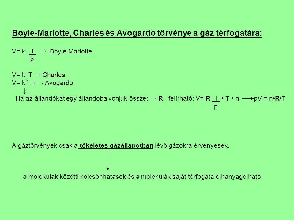 Boyle-Mariotte, Charles és Avogardo törvénye a gáz térfogatára: V= k 1 → Boyle Mariotte p V= k' T → Charles V= k''' n → Avogardo ↓ Ha az állandókat egy állandóba vonjuk össze: → R; felírható: V= R 1 T n pV = nRT p A gáztörvények csak a tökéletes gázállapotban lévő gázokra érvényesek.