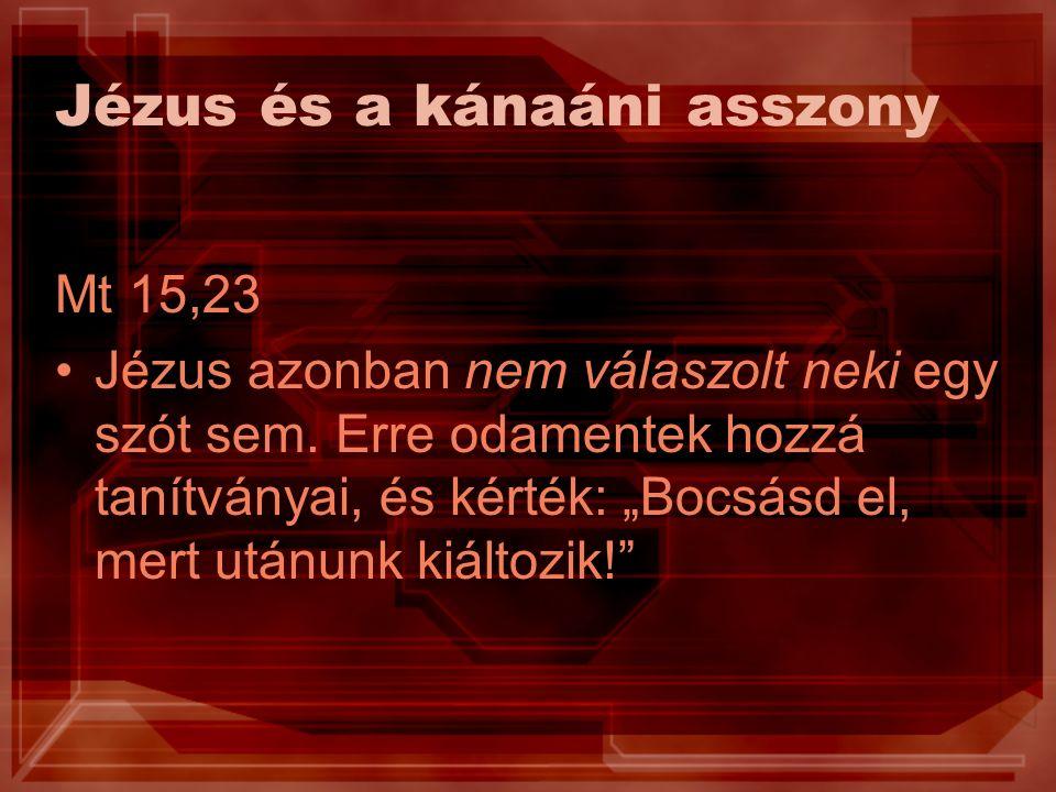 Jézus és a kánaáni asszony Mt 15,23 Jézus azonban nem válaszolt neki egy szót sem.