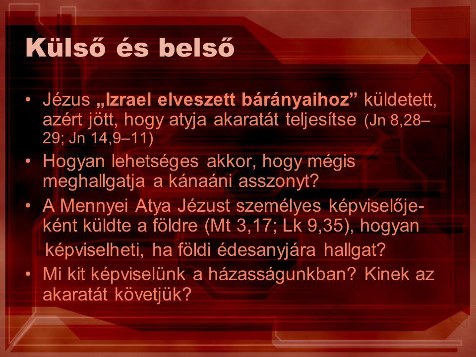 """Külső és belső Jézus """"Izrael elveszett bárányaihoz küldetett, azért jött, hogy atyja akaratát teljesítse (Jn 8,28– 29; Jn 14,9–11) Hogyan lehetséges akkor, hogy mégis meghallgatja a kánaáni asszonyt."""