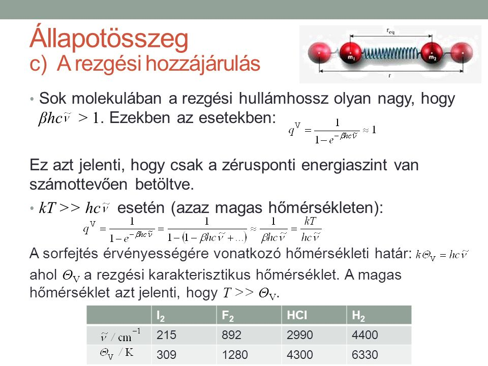 c)A rezgési hozzájárulás Sok molekulában a rezgési hullámhossz olyan nagy, hogy βhc > 1. Ezekben az esetekben: Ez azt jelenti, hogy csak a zérusponti