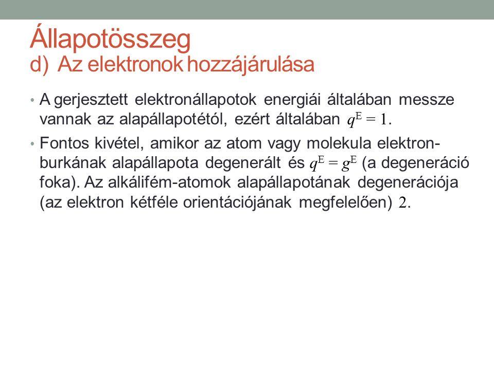 d)Az elektronok hozzájárulása A gerjesztett elektronállapotok energiái általában messze vannak az alapállapotétól, ezért általában q E = 1. Fontos kiv