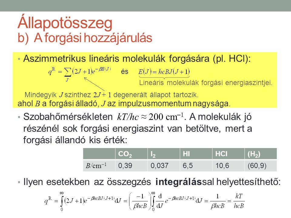 b)A forgási hozzájárulás Aszimmetrikus lineáris molekulák forgására (pl. HCl): ahol B a forgási álladó, J az impulzusmomentum nagysága. Szobahőmérsékl