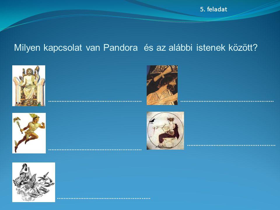 Milyen kapcsolat van Pandora és az alábbi istenek között.