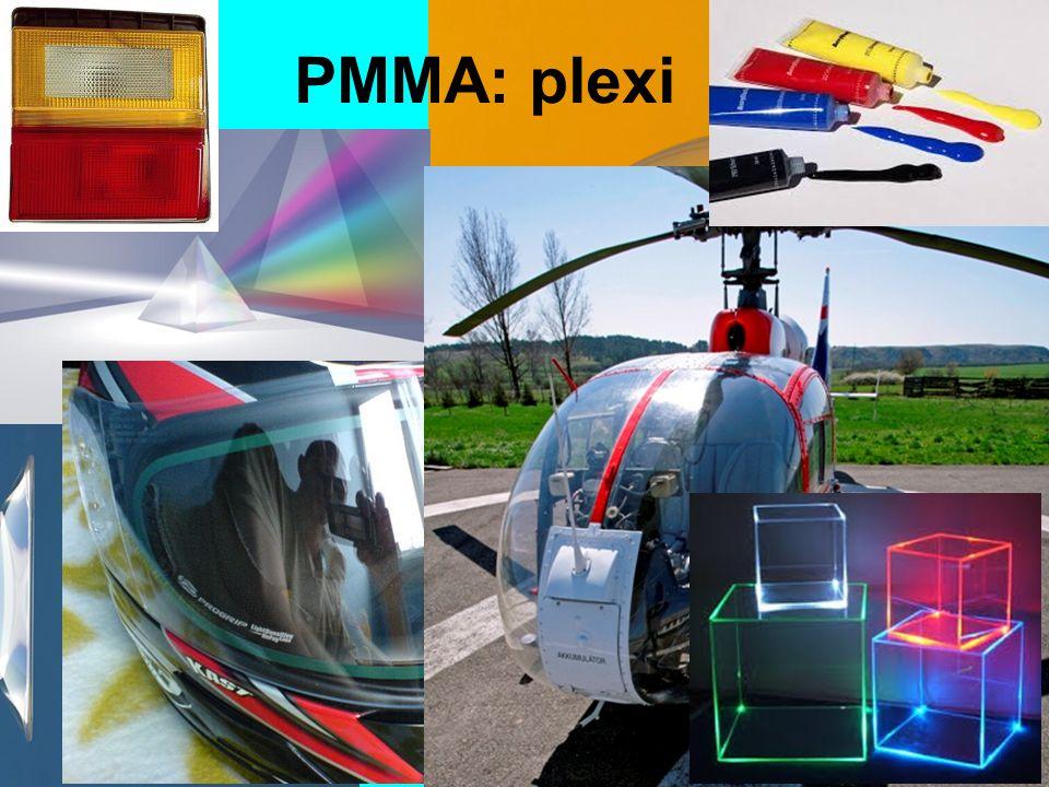 PMMA felhasználása üveg helyettesítésére: –lencsék, prizmák –jármű alkatrészek –átlátszó tárgyak festékek, lakkok