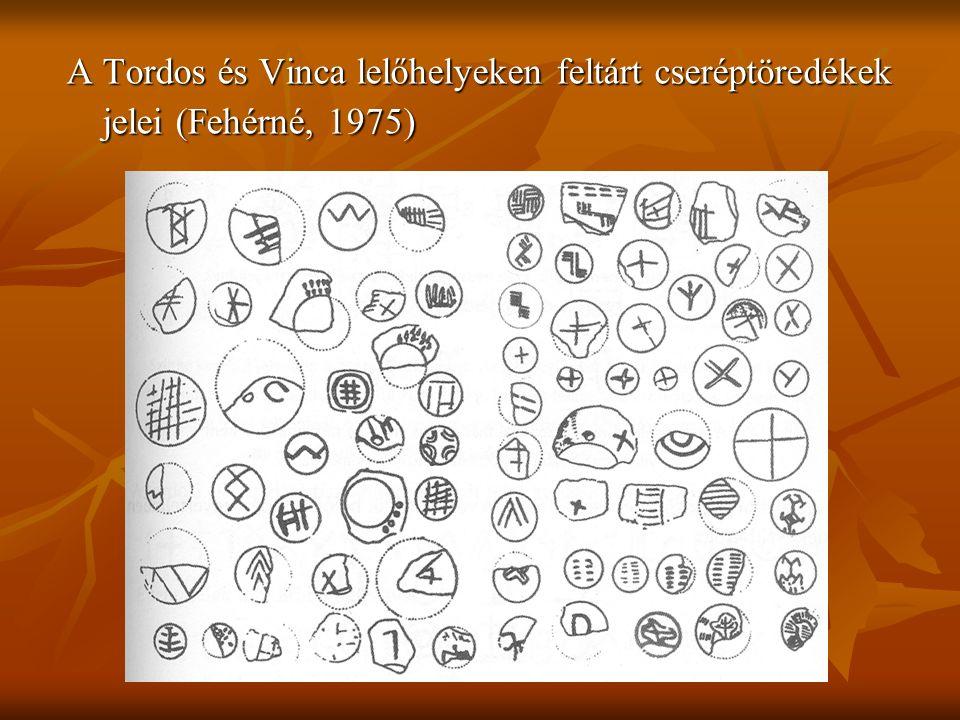 A Tordos és Vinca lelőhelyeken feltárt cseréptöredékek jelei (Fehérné, 1975)