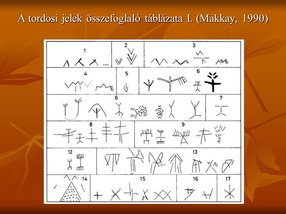 A tordosi jelek összefoglaló táblázata I. (Makkay, 1990)