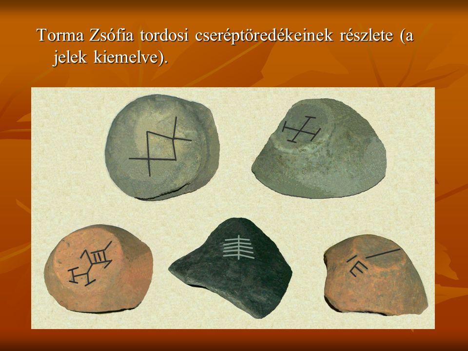 Torma Zsófia tordosi cseréptöredékeinek részlete (a jelek kiemelve).