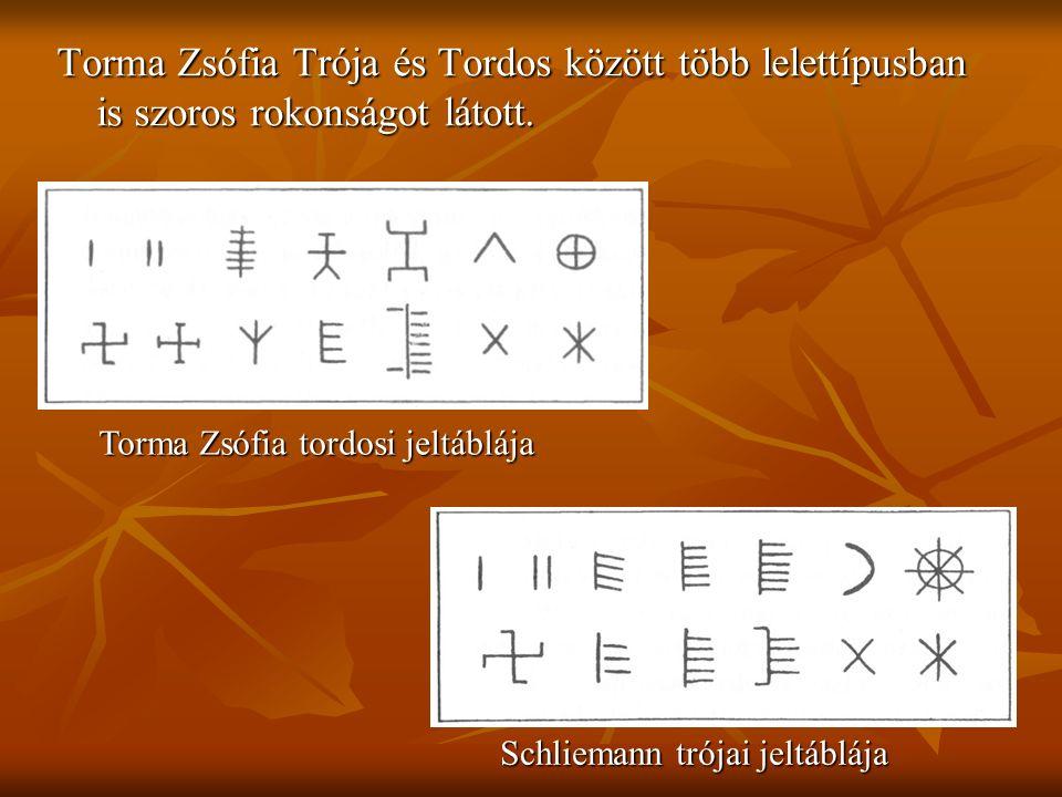 Torma Zsófia Trója és Tordos között több lelettípusban is szoros rokonságot látott. Schliemann trójai jeltáblája Torma Zsófia tordosi jeltáblája