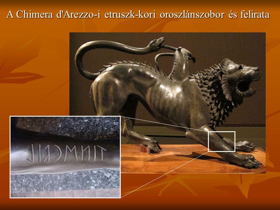 A Chimera d Arezzo-i etruszk-kori oroszlánszobor és felirata
