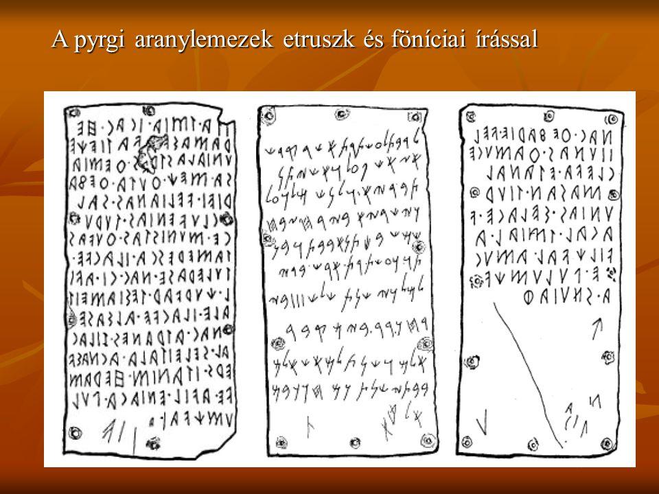 A pyrgi aranylemezek etruszk és föníciai írással