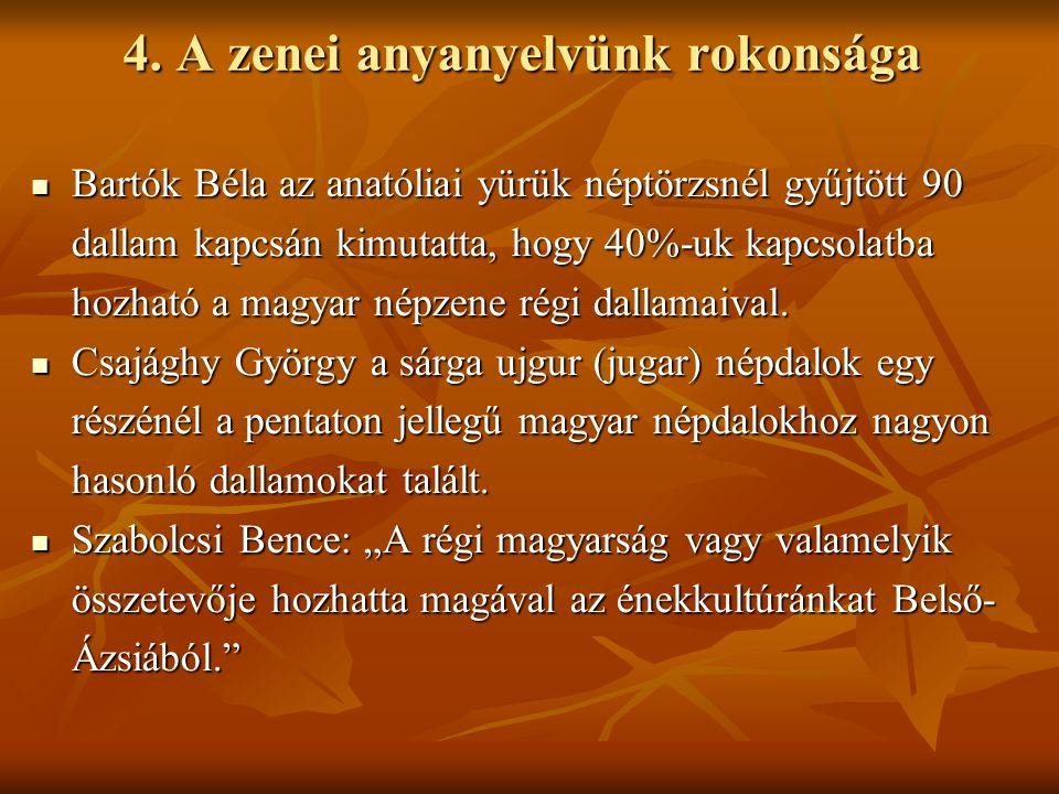 4. A zenei anyanyelvünk rokonsága Bartók Béla az anatóliai yürük néptörzsnél gyűjtött 90 dallam kapcsán kimutatta, hogy 40%-uk kapcsolatba hozható a m