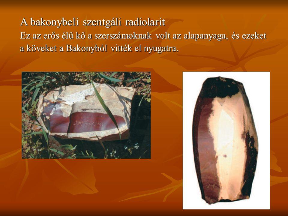 A bakonybeli szentgáli radiolarit Ez az erős élű kő a szerszámoknak volt az alapanyaga, és ezeket a köveket a Bakonyból vitték el nyugatra.