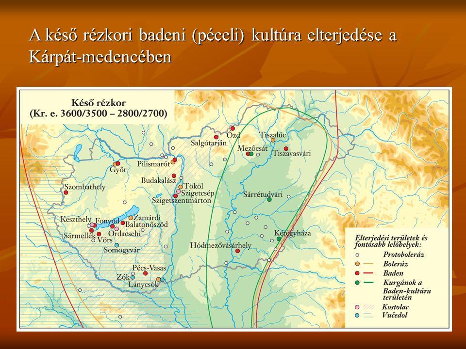 A késő rézkori badeni (péceli) kultúra elterjedése a Kárpát-medencében