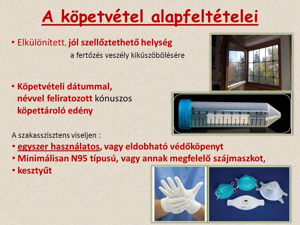 A köpetvétel alapfeltételei Elkülönített, jól szellőztethető helység a fertőzés veszély kiküszöbölésére Köpetvételi dátummal, névvel feliratozott kónuszos köpettároló edény A szakasszisztens viseljen : egyszer használatos, vagy eldobható védőköpenyt Minimálisan N95 típusú, vagy annak megfelelő szájmaszkot, kesztyűt