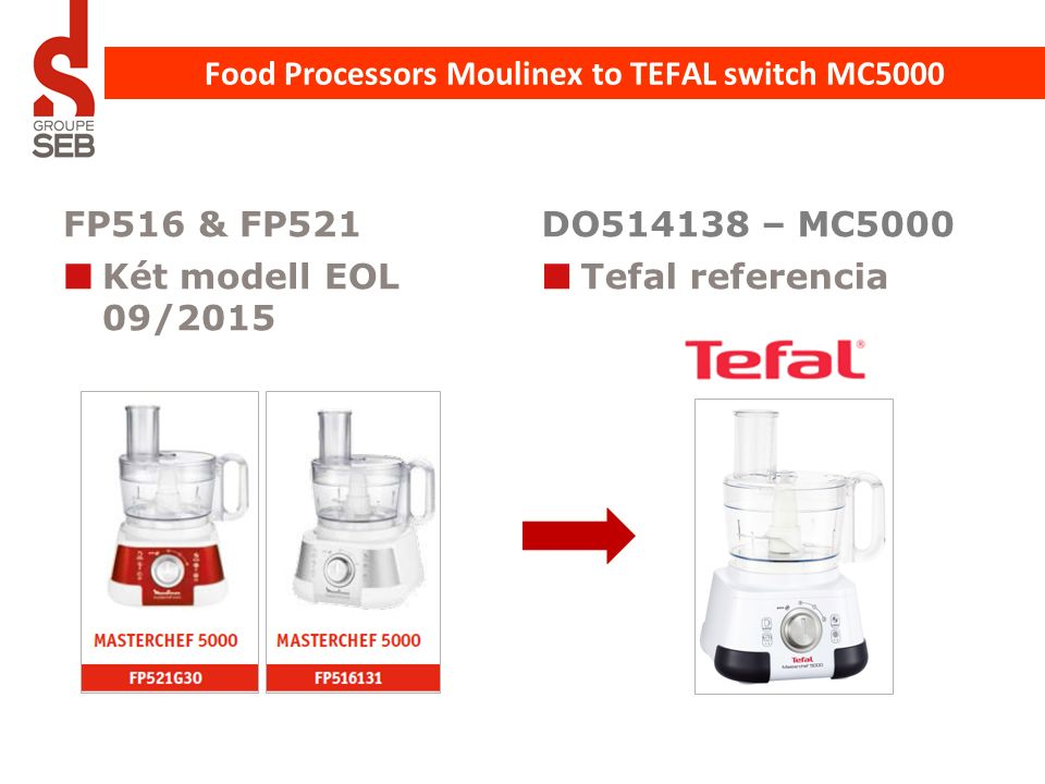 FP516 & FP521 Két modell EOL 09/2015 DO514138 – MC5000 Tefal referencia Food Processors Moulinex to TEFAL switch MC5000