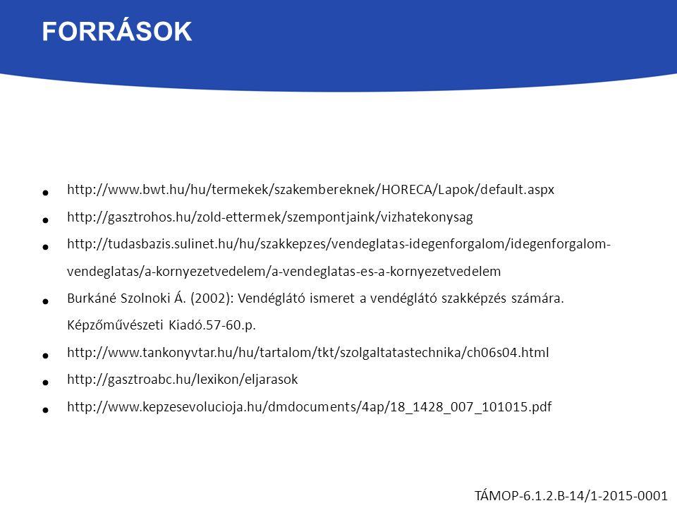 FORRÁSOK http://www.bwt.hu/hu/termekek/szakembereknek/HORECA/Lapok/default.aspx http://gasztrohos.hu/zold-ettermek/szempontjaink/vizhatekonysag http:/