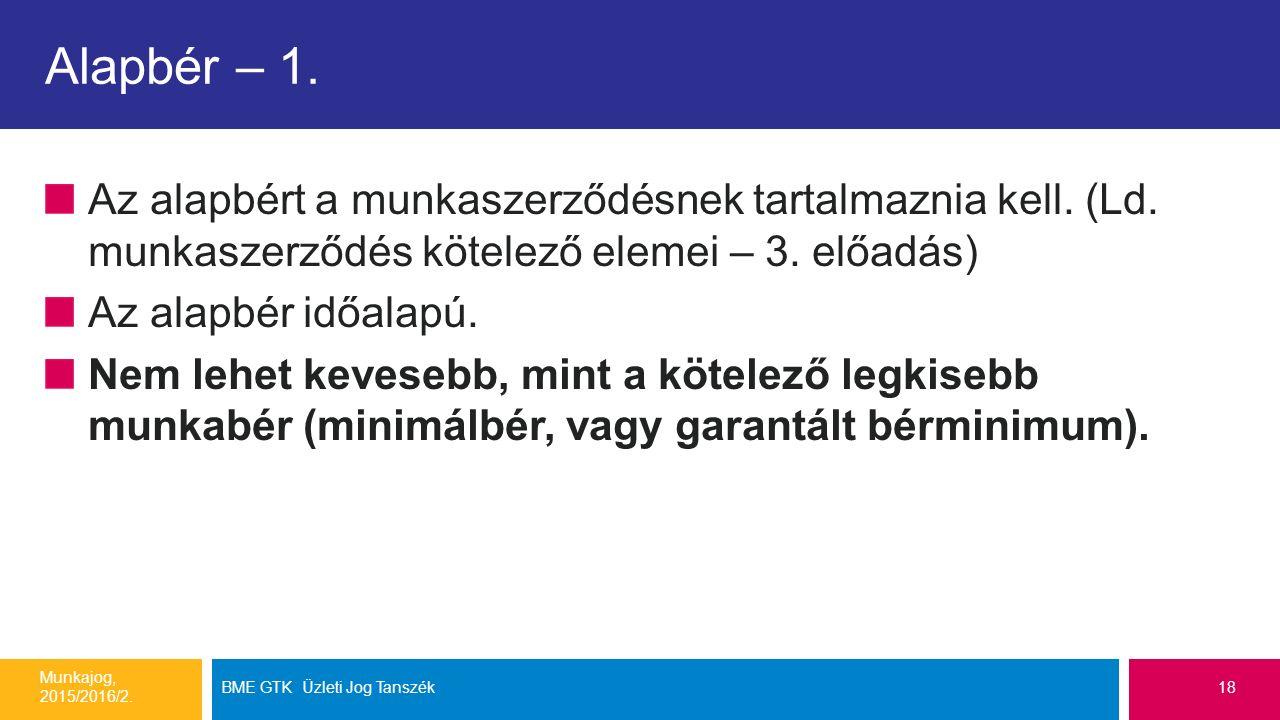 Alapbér – 1. Az alapbért a munkaszerződésnek tartalmaznia kell.