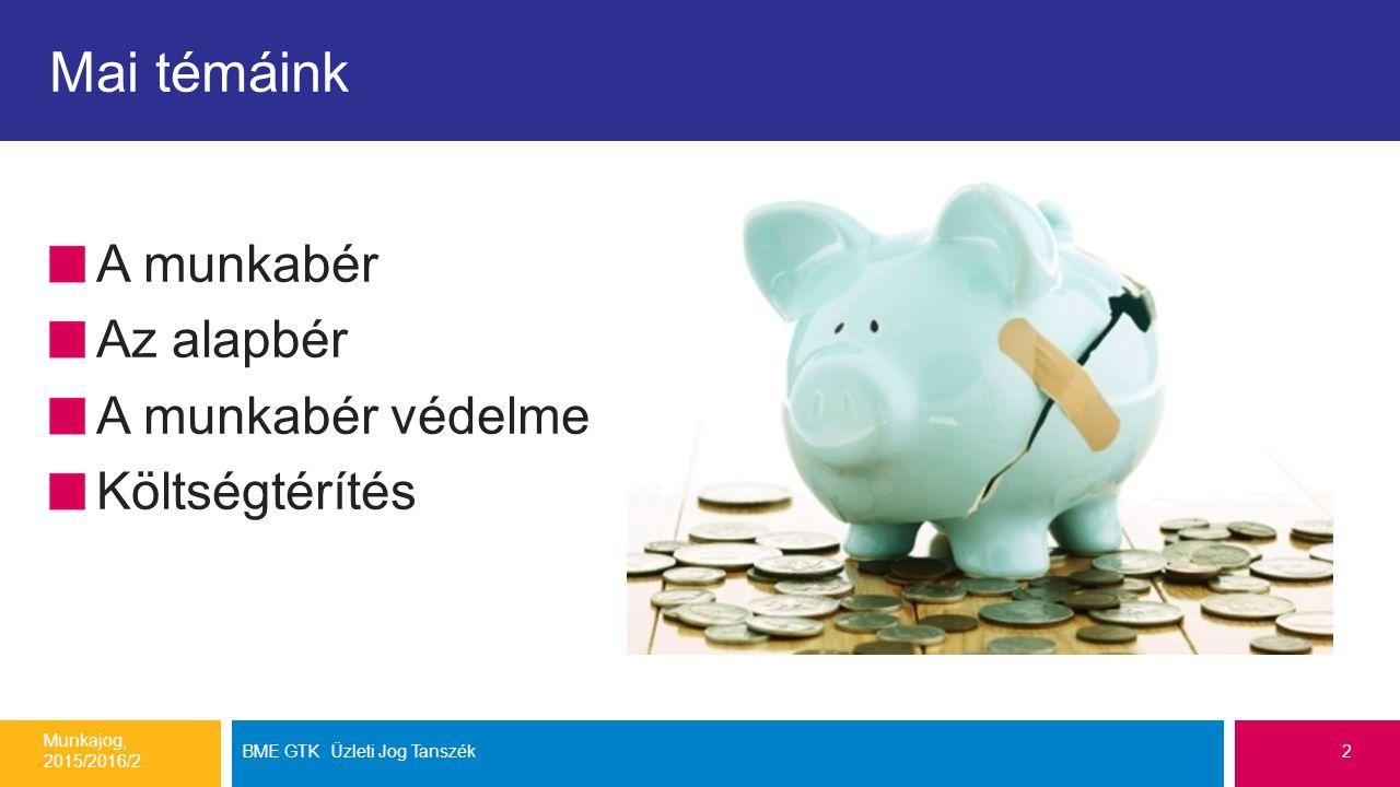 Mai témáink A munkabér Az alapbér A munkabér védelme Költségtérítés Munkajog, 2015/2016/2.