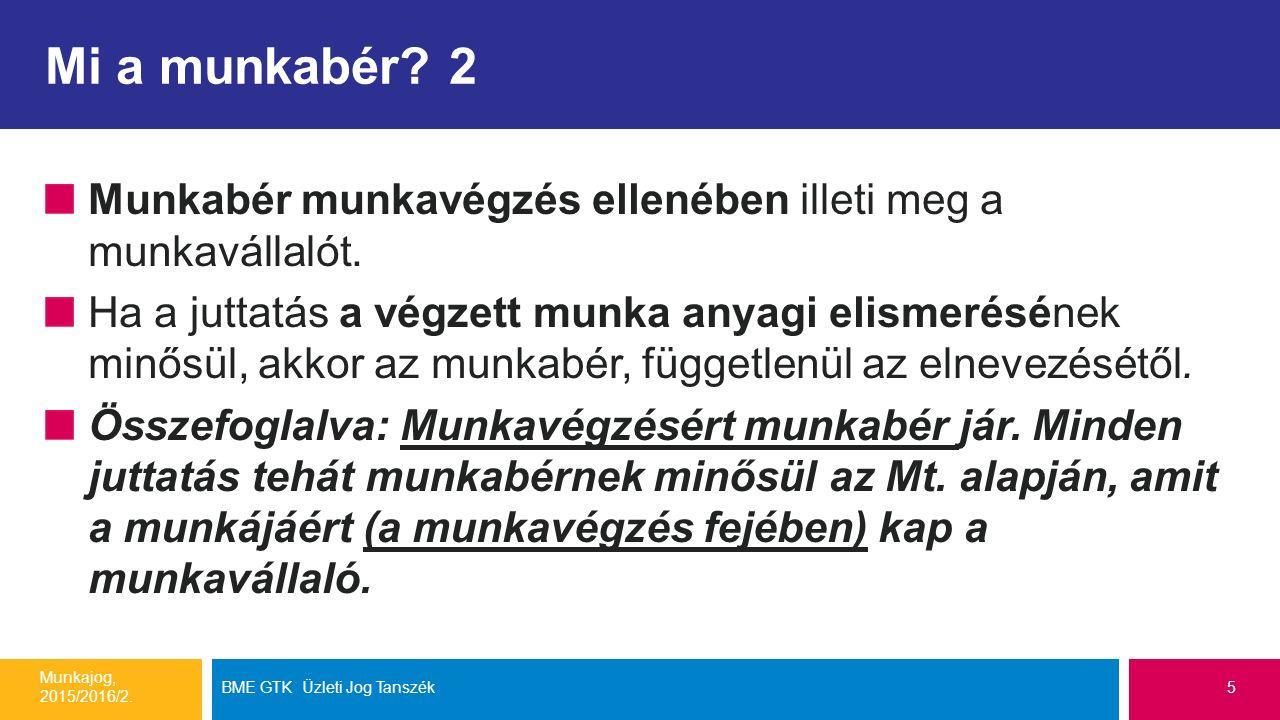 A munkabér védelme (Mt. 154-164.§) Munkajog, 2015/2016/2. BME GTK Üzleti Jog Tanszék6