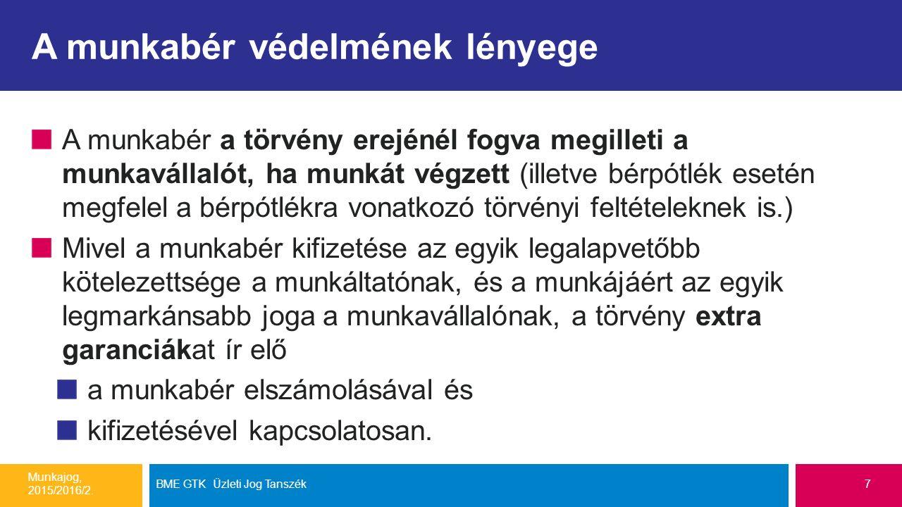 Néhány tipikus költségtérítés fajta Munkajog, 2015/2016/2. BME GTK Üzleti Jog Tanszék38