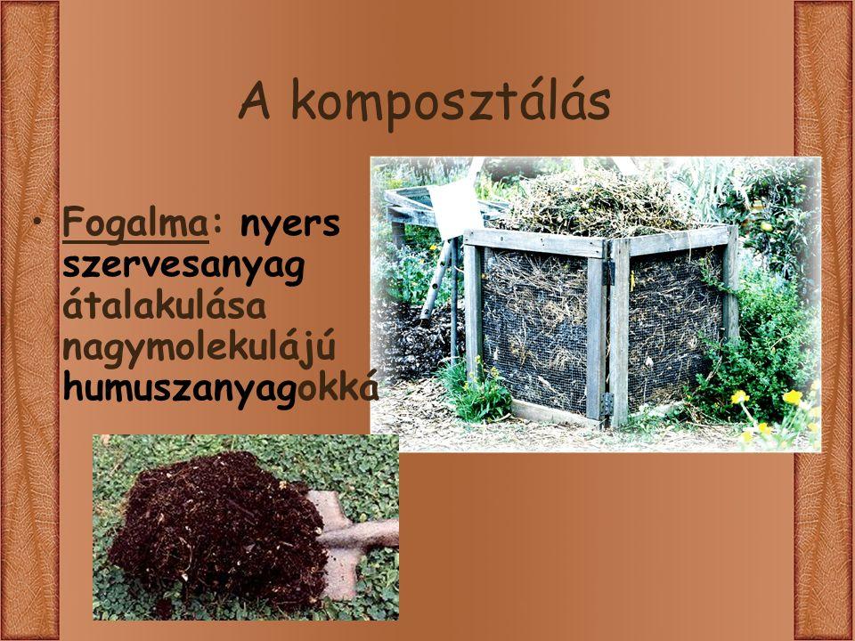A komposztálás Fogalma: nyers szervesanyag átalakulása nagymolekulájú humuszanyagokká