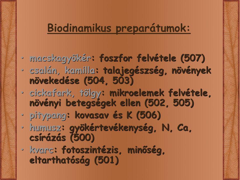macskagyökér: foszfor felvétele (507) csalán, kamilla: talajegészség, növények növekedése (504, 503) cickafark, tölgy: mikroelemek felvétele, növényi betegségek ellen (502, 505) pitypang: kovasav és K (506) humusz: gyökértevékenység, N, Ca, csírázás (500) kvarc: fotoszintézis, minőség, eltarthatóság (501) macskagyökér: foszfor felvétele (507) csalán, kamilla: talajegészség, növények növekedése (504, 503) cickafark, tölgy: mikroelemek felvétele, növényi betegségek ellen (502, 505) pitypang: kovasav és K (506) humusz: gyökértevékenység, N, Ca, csírázás (500) kvarc: fotoszintézis, minőség, eltarthatóság (501)