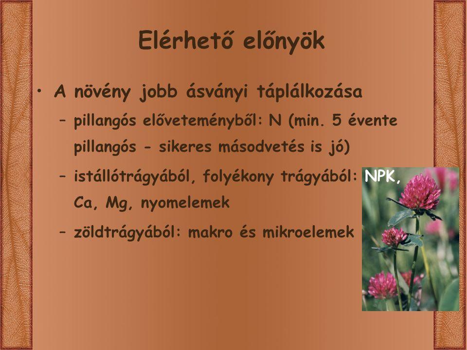 Elérhető előnyök A növény jobb ásványi táplálkozása –pillangós előveteményből: N (min.
