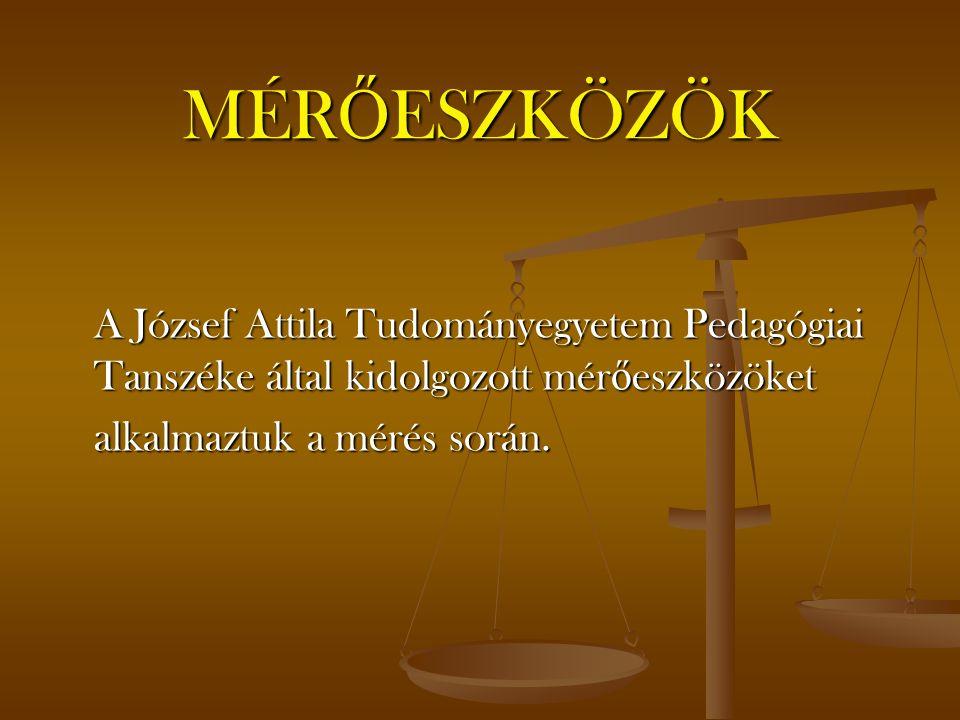 MÉR Ő ESZKÖZÖK A József Attila Tudományegyetem Pedagógiai Tanszéke által kidolgozott mér ő eszközöket alkalmaztuk a mérés során.