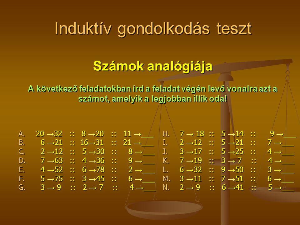 Induktív gondolkodás teszt Számok analógiája A következő feladatokban írd a feladat végén levő vonalra azt a számot, amelyik a legjobban illik oda.