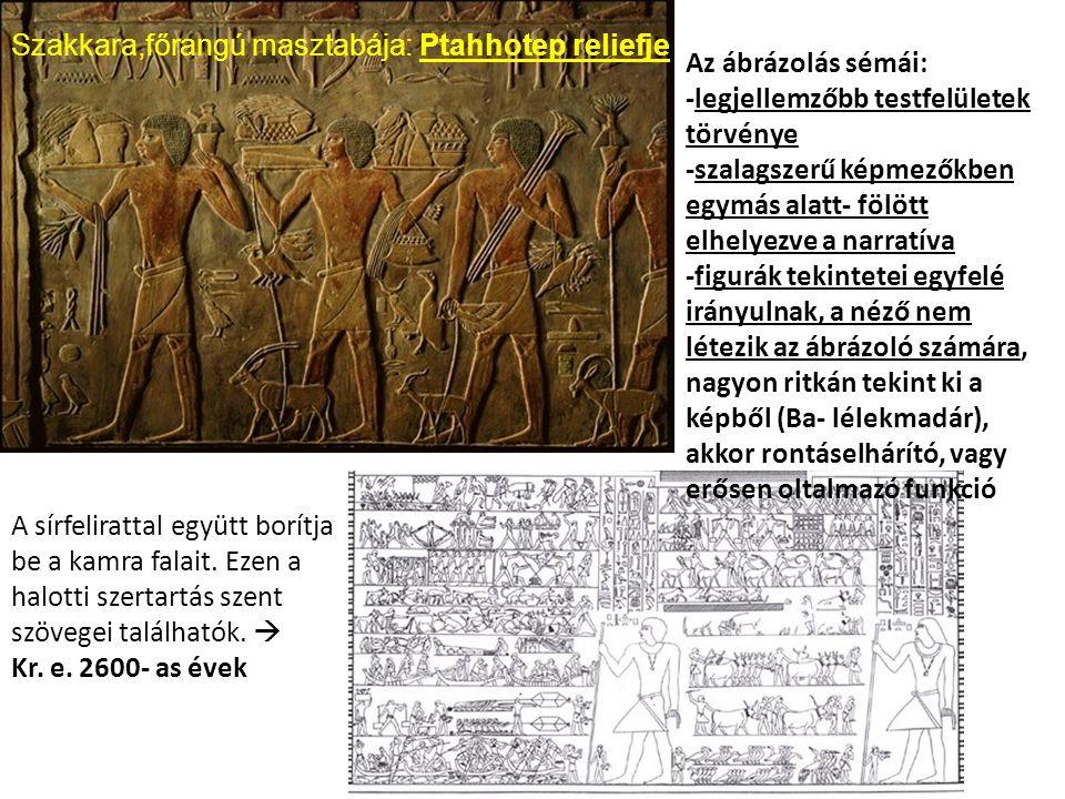 A sírfelirattal együtt borítja be a kamra falait. Ezen a halotti szertartás szent szövegei találhatók.  Kr. e. 2600- as évek Az ábrázolás sémái: -leg