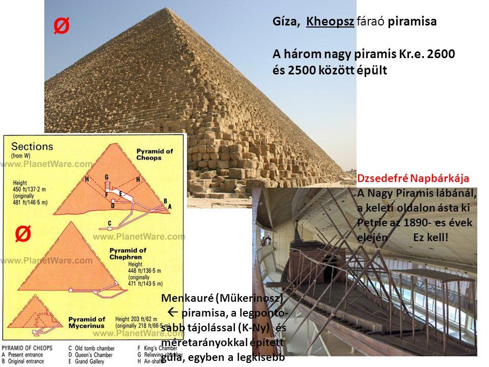 Dzsedefré Napbárkája A Nagy Piramis lábánál, a keleti oldalon ásta ki Petrie az 1890- es évek elején Ez kell! Gíza, Kheopsz fáraó piramisa A három nag