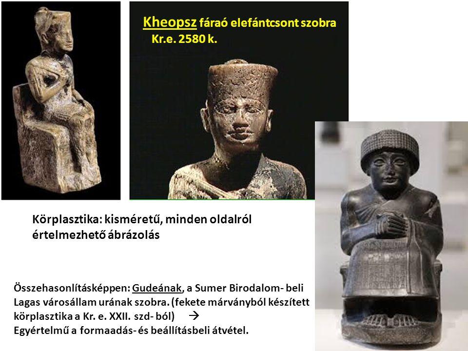 Összehasonlításképpen: Gudeának, a Sumer Birodalom- beli Lagas városállam urának szobra. (fekete márványból készített körplasztika a Kr. e. XXII. szd-