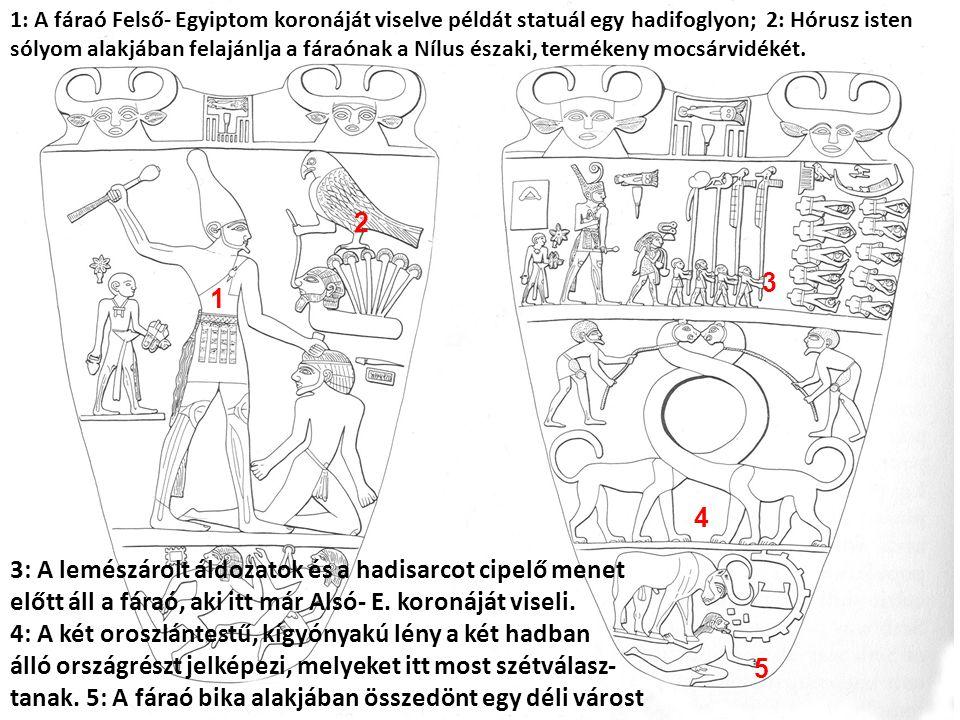 2 1 3 4 5 1: A fáraó Felső- Egyiptom koronáját viselve példát statuál egy hadifoglyon; 2: Hórusz isten sólyom alakjában felajánlja a fáraónak a Nílus északi, termékeny mocsárvidékét.