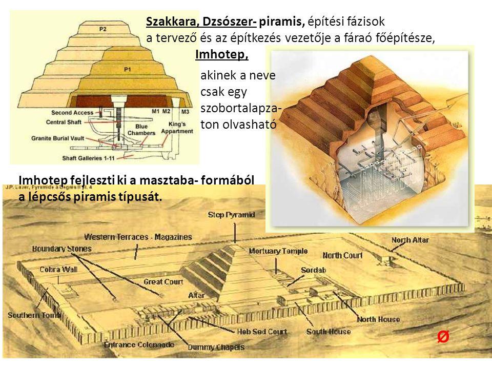 Szakkara, Dzsószer- piramis, építési fázisok a tervező és az építkezés vezetője a fáraó főépítésze, Imhotep, Ø Imhotep fejleszti ki a masztaba- formából a lépcsős piramis típusát.
