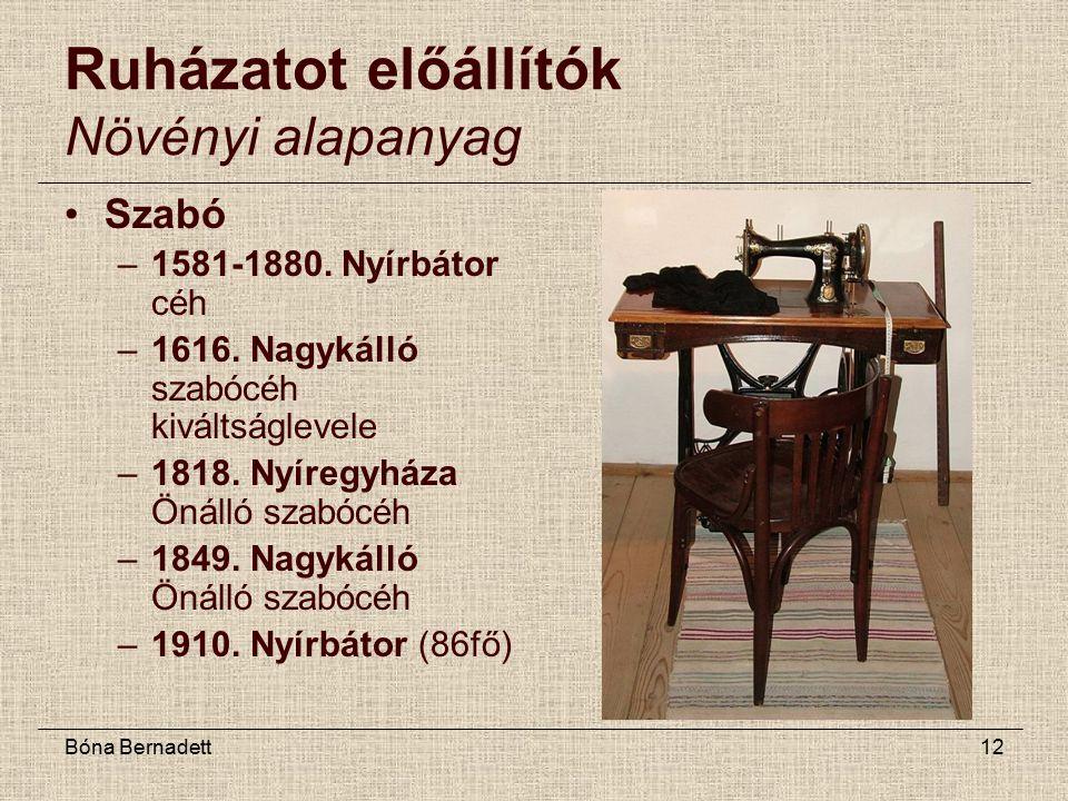 Bóna Bernadett12 Ruházatot előállítók Növényi alapanyag Szabó –1581-1880.