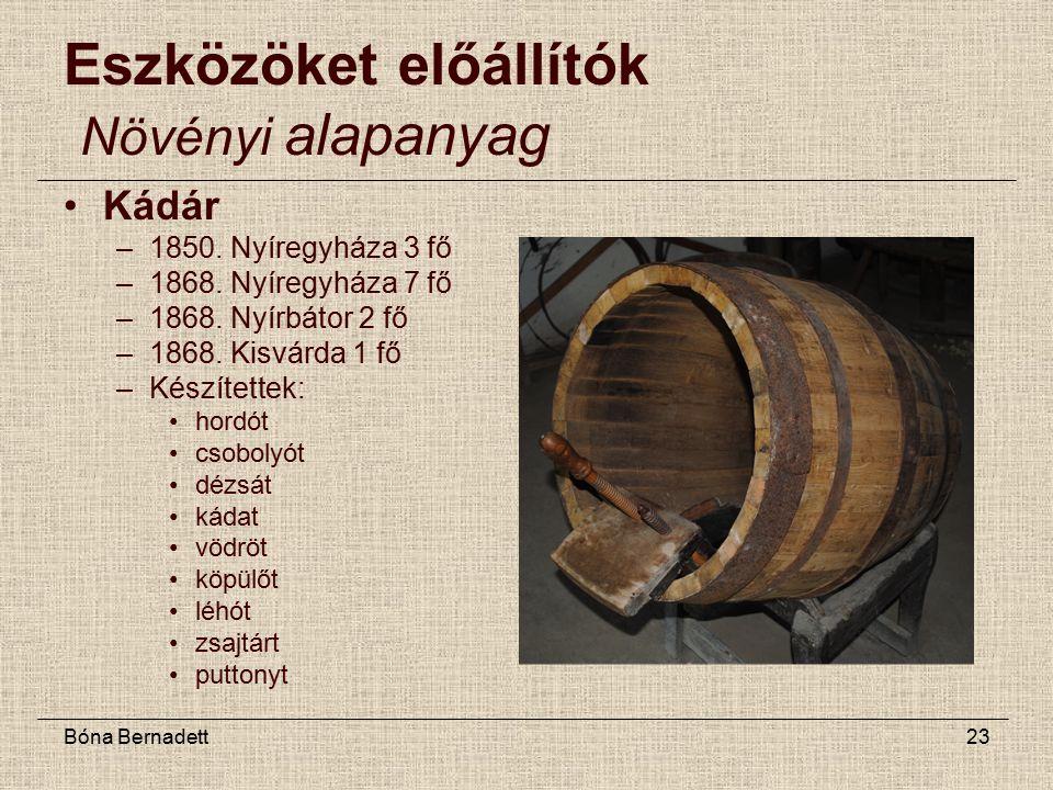 Bóna Bernadett23 Eszközöket előállítók Növényi alapanyag Kádár –1850.
