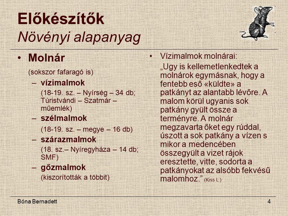 Bóna Bernadett4 Előkészítők Növényi alapanyag Molnár (sokszor fafaragó is) –vízimalmok (18-19.