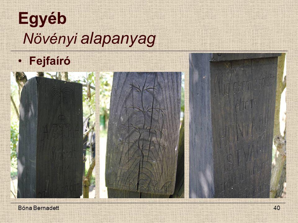 Bóna Bernadett40 Egyéb Növényi alapanyag Fejfaíró