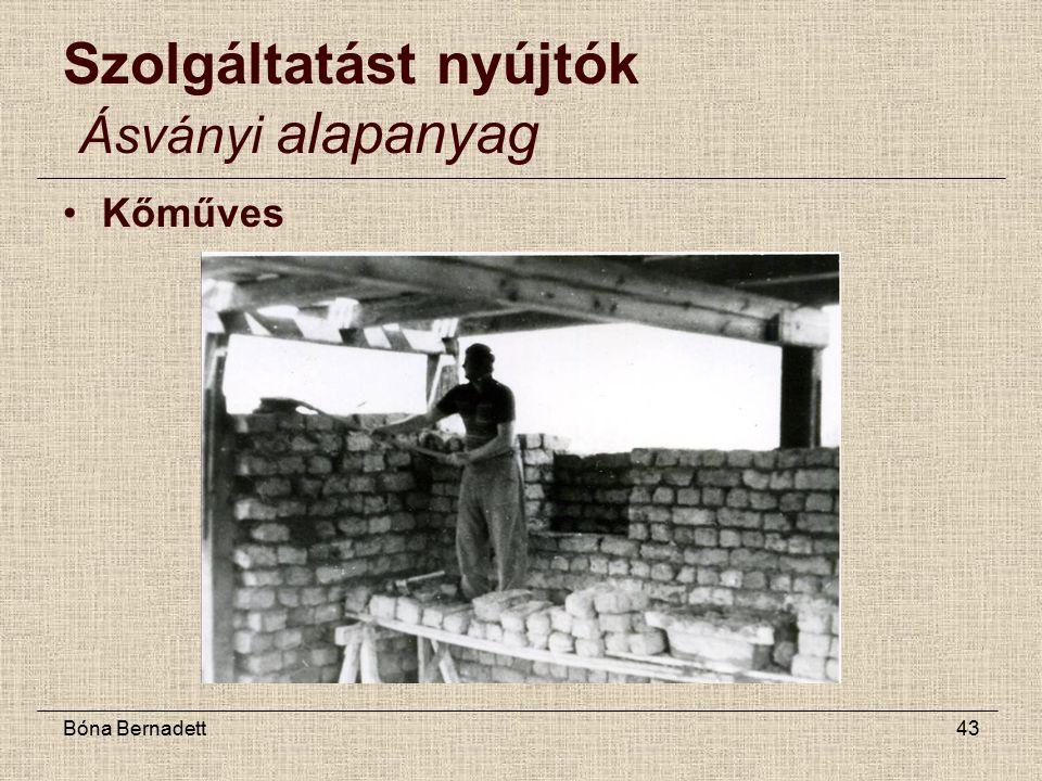 Bóna Bernadett43 Szolgáltatást nyújtók Ásványi alapanyag Kőműves