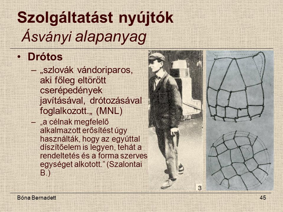 """Bóna Bernadett45 Szolgáltatást nyújtók Ásványi alapanyag Drótos –""""szlovák vándoriparos, aki főleg eltörött cserépedények javításával, drótozásával foglalkozott."""" (MNL) –""""a célnak megfelelő alkalmazott erősítést úgy használták, hogy az egyúttal díszítőelem is legyen, tehát a rendeltetés és a forma szerves egységet alkotott. (Szalontai B.)"""