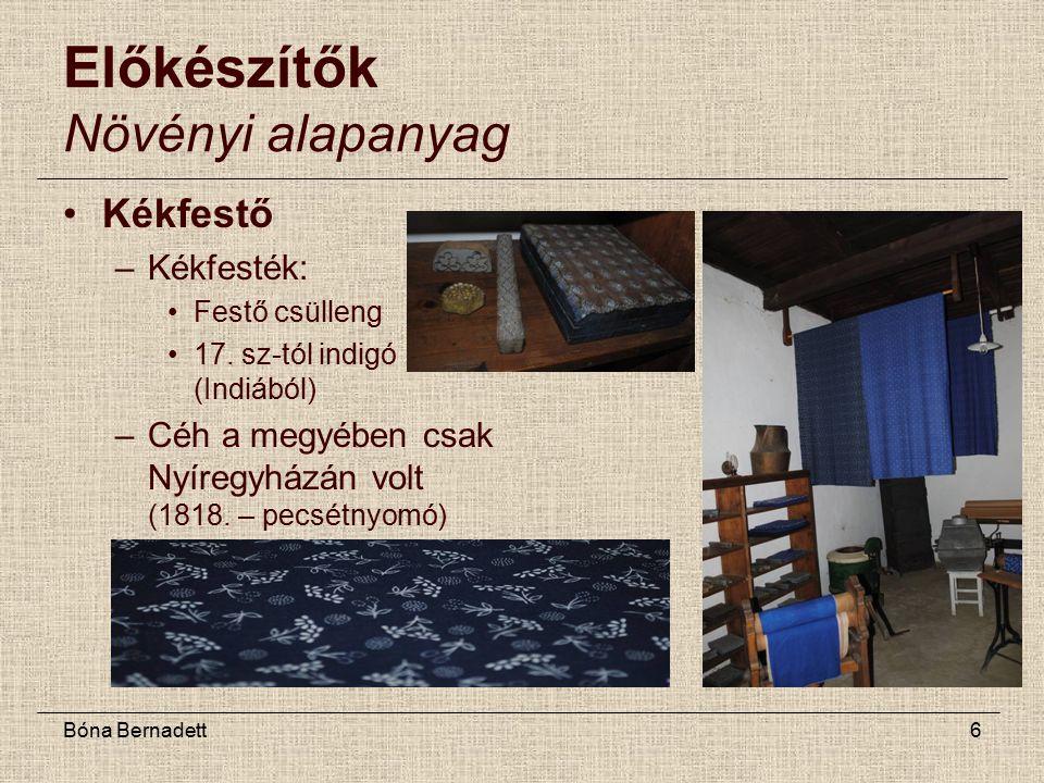 Bóna Bernadett6 Előkészítők Növényi alapanyag Kékfestő –Kékfesték: Festő csülleng 17.
